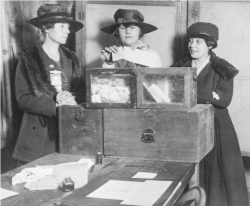 Suffragists casting ballots