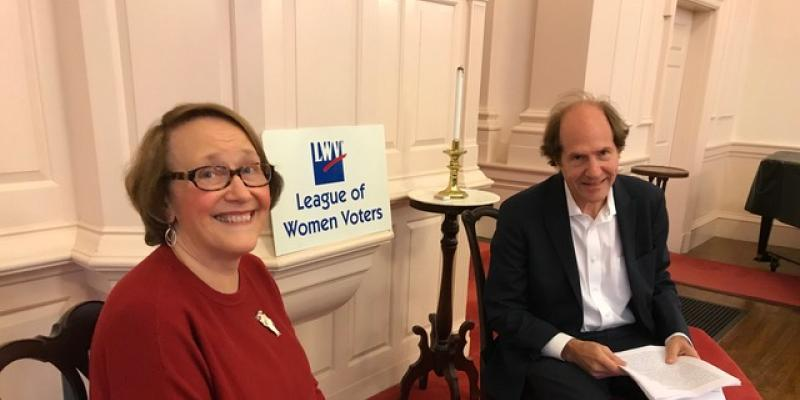LWVCC President Diane Proctor and Prof. Cass Sunstein