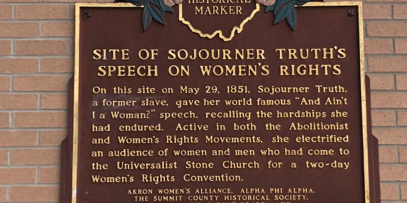 Sojourner Truth Speech Plaque