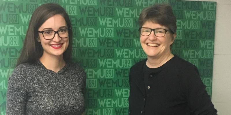 LWVAAA members Paige Nong and Mary Seelhorst at WEMU 89.1FM