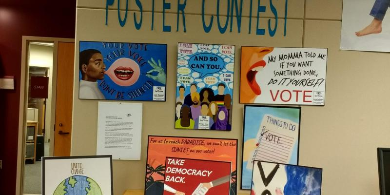 Vote poster contest display at Saline library
