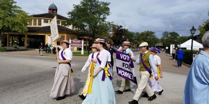 Suffragists march at Greenfield Village September 2019