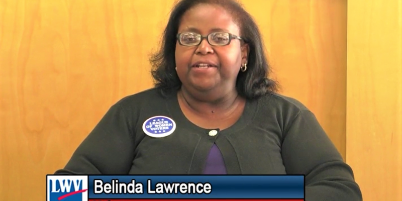 LWV ABC member Belinda Lawrence moderates a Candidate Forum
