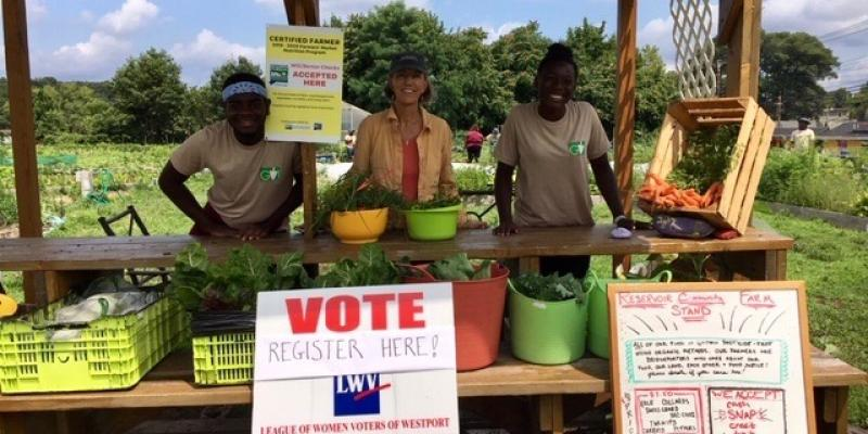 Bridgeport farmers market voter registration table