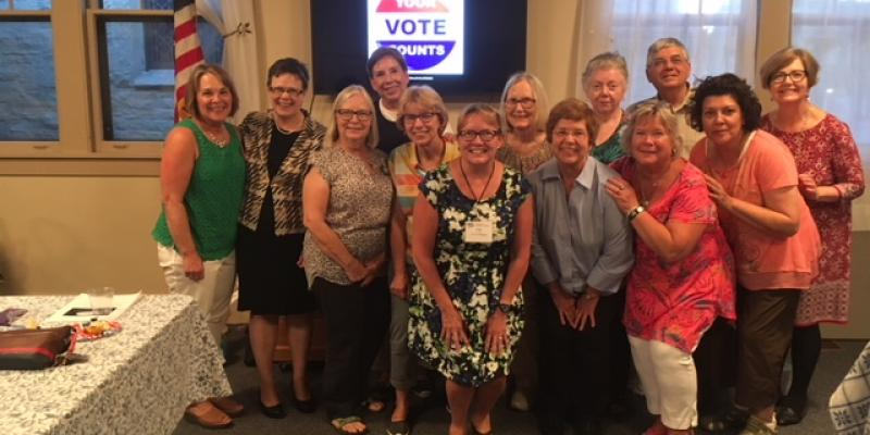 "League members from Oak Park and Wheaton joined Central Kane County members in previewing the voter information program ""Making Your Voice Heard""."