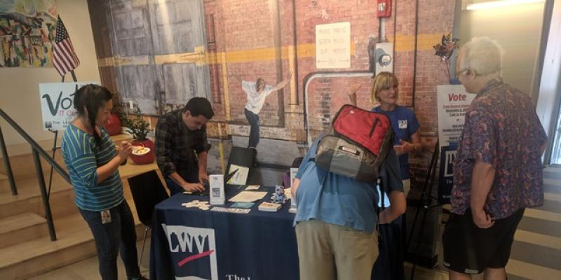 LWVMA voter registration at Google's Cambridge office