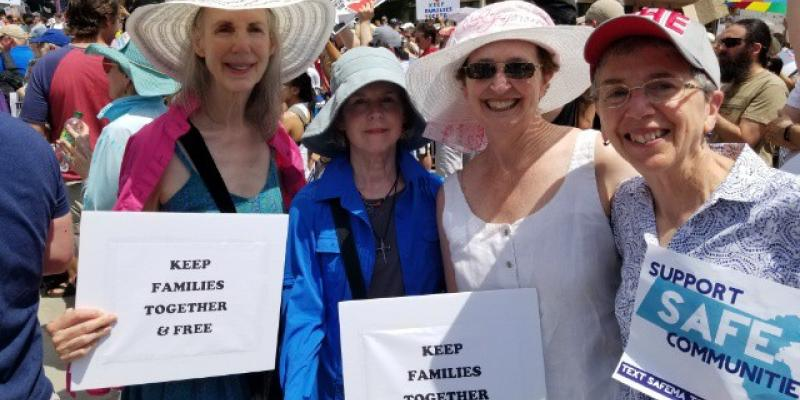 Pamela Maureen Anne and Nancy at 2018 Families March - Boston