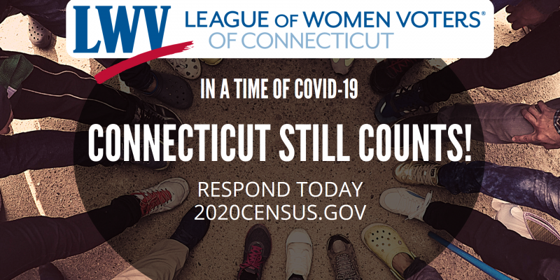 2020 Census Banner reads: In a Time of COVID-19 Connecticut Still Counts! Respond Today at 2020census.gov