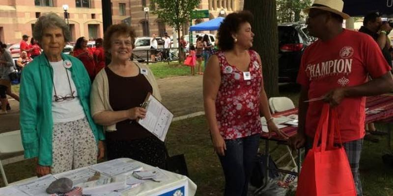 LWVCT Registers Voters at PR Festival