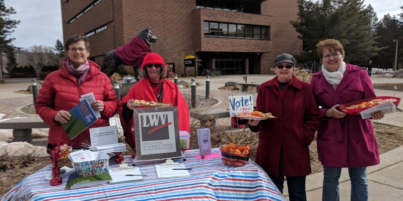 Equal Pay Day Event by Michigan Tech Husky Statue 04-02-2019