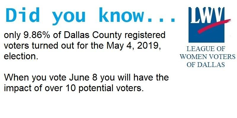 only 9.86% of registered voters turned out for the May 4, 2019 election. When you vote in the June 8 runoff you will have the impact of 10 voters.