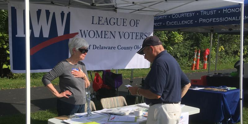 The League works in the community to get the word out about voter issues.