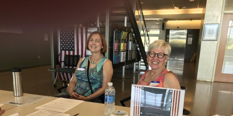 LWV DelCo Volunteers at Columbus State Community College Registering Students to Vote