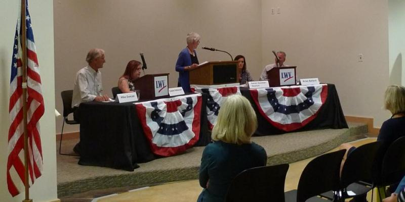 Moab City Candidates 2017 (L to R) - Mike Duncan, Cassie Patterson, (Moderator Carey Dabney), Karen Guzman-Newton and Brian Ballard
