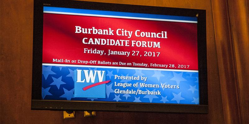 Display on television at candidate forum with LWV logo January 27 2017