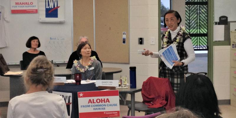 Sandy Ma of Common Cause Hawai'i speaks on Vote By Mail
