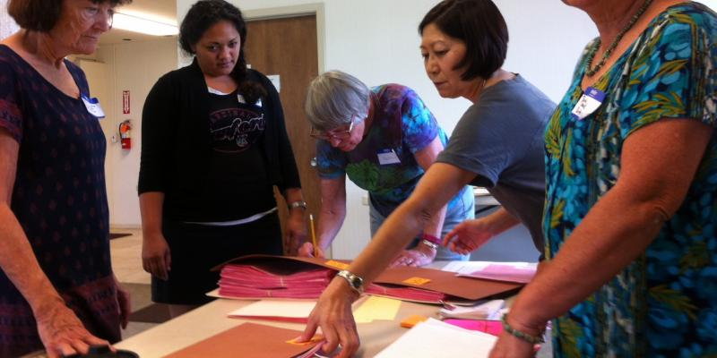 LWV Hawaii County Members counting votes in Waikoloa