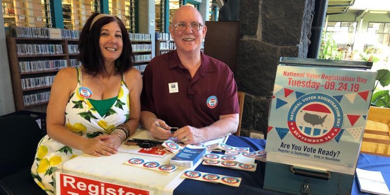 LWVHC Voter Registration Drive on National Voter Registration Day at Hilo Public Library