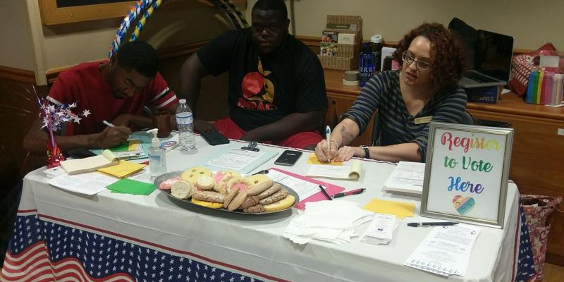 Registering voters at Texas State University's Honors College