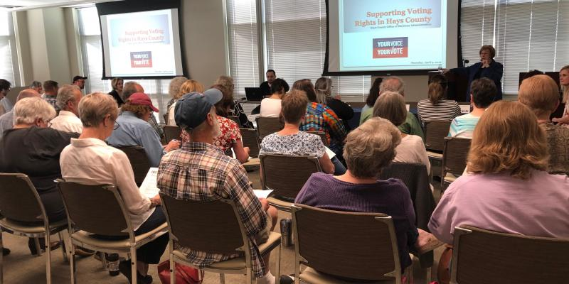 "photo of attendees at LWV Hays County program ""Safeguarding Voters Rights"""