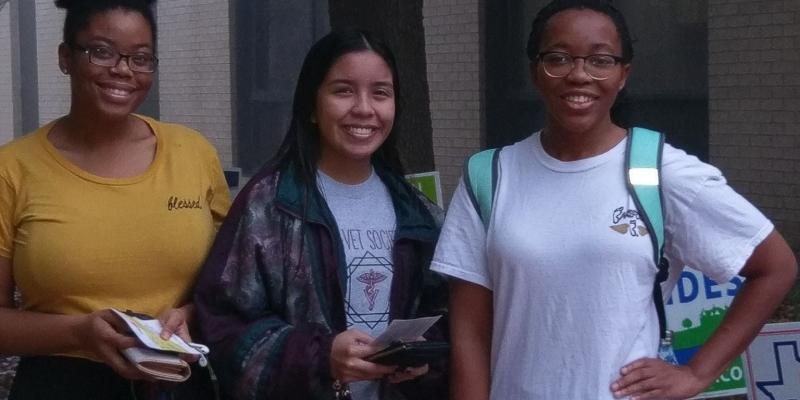 Texas State University students wait for polls to open on Election Day