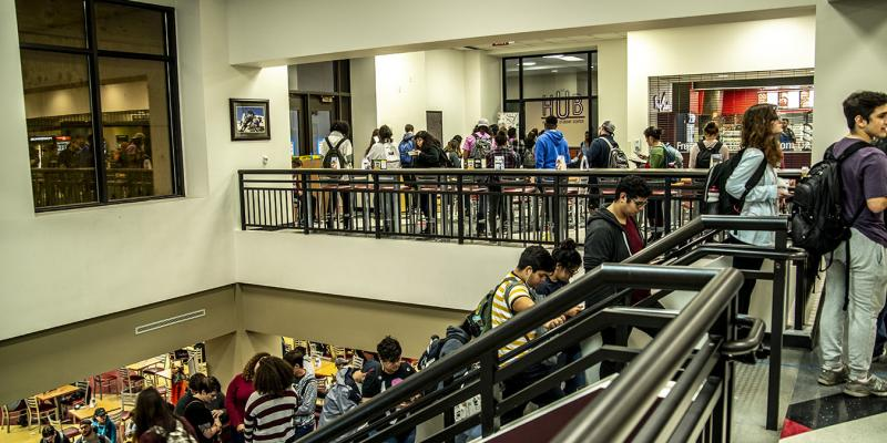 Texas State students in line to vote.