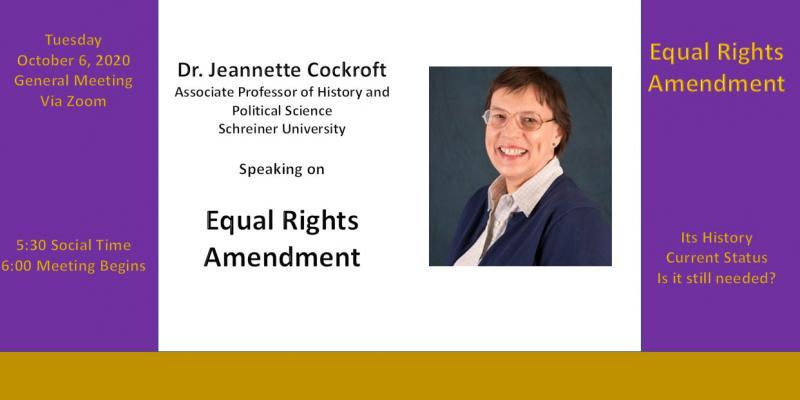 General Meeting with special speaker  Dr. Jeannette Cockroft