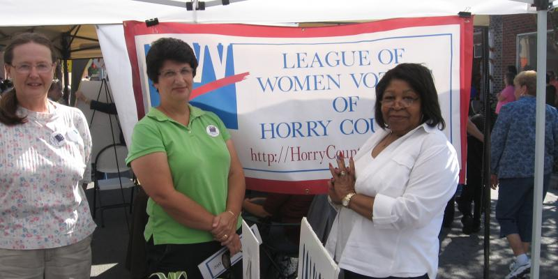 LWV Horry County Voter Registration Outreach at Loris Bog-Off, Oct 2015