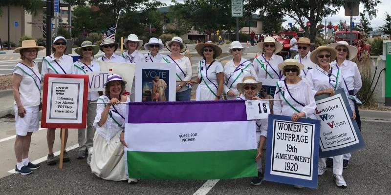 Los Alamos League of Women Voters Suffragists Aug. 2019