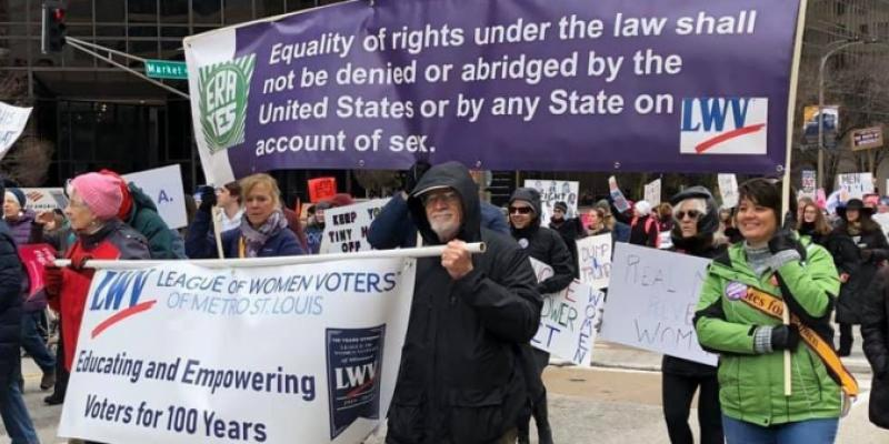 LWV St Louis members march for Equal Rights Amendment 2020