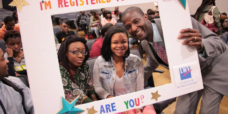 I'm Registered to Vote - Are You? photo frame with students