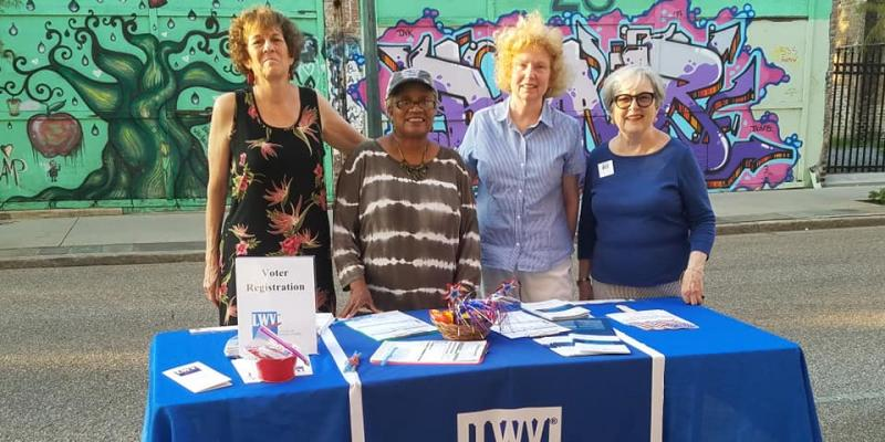 LWVM members at voter registration table - Art Walk 2019