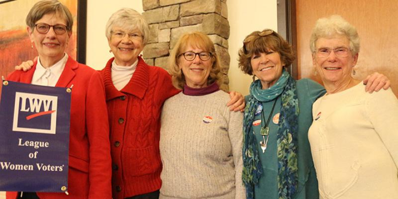 Five LWVMCVA members following the talk on Black Suffragists