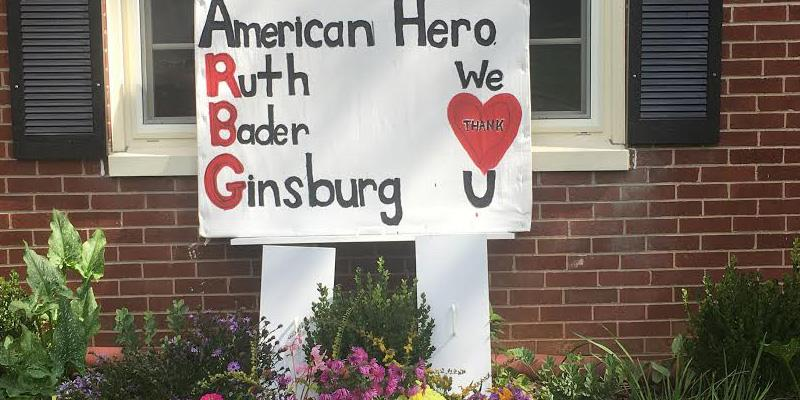 Member's house sign as tribute to Ruth Bader Ginsburg