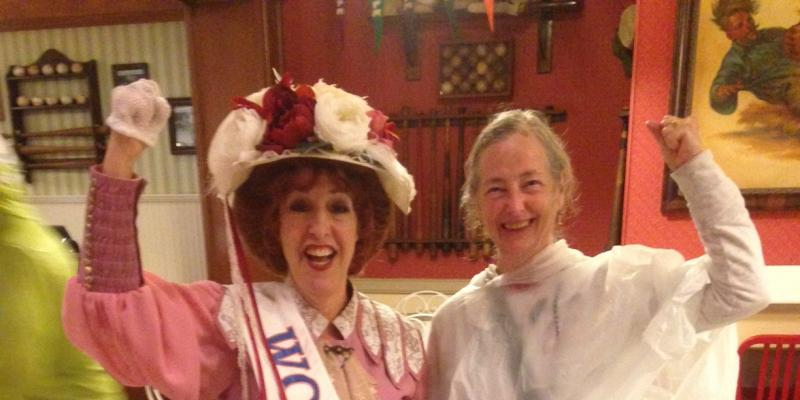 photo of a 1920 suffragist and a contemporary