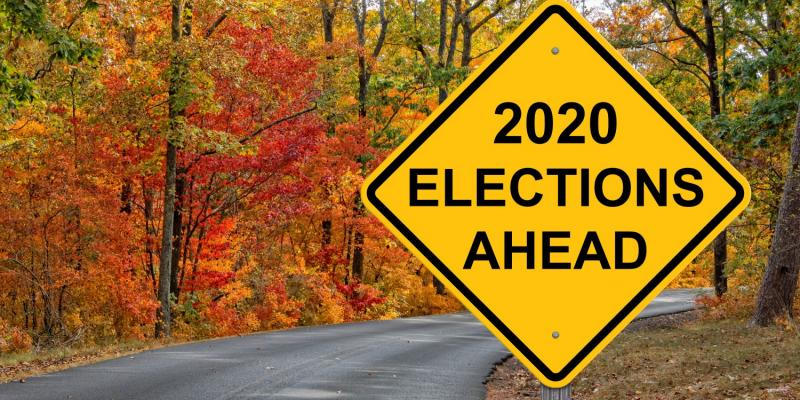 Traffic sign that says 2020 Elections ahead