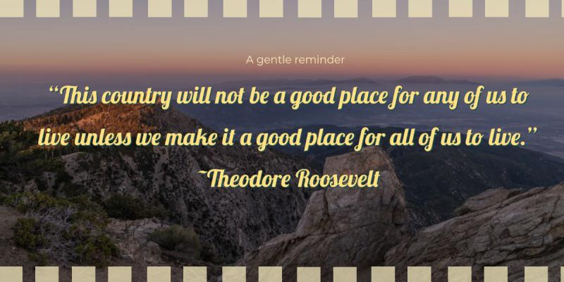 "This country will not be a good place for any of us to live unless we make it a good place for all of us to live."" ~ Theodore Roosevelt"