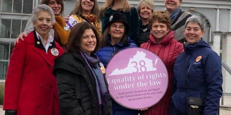 Group of Women in Richmond with Ratify ERA Virginia sign, January 2020