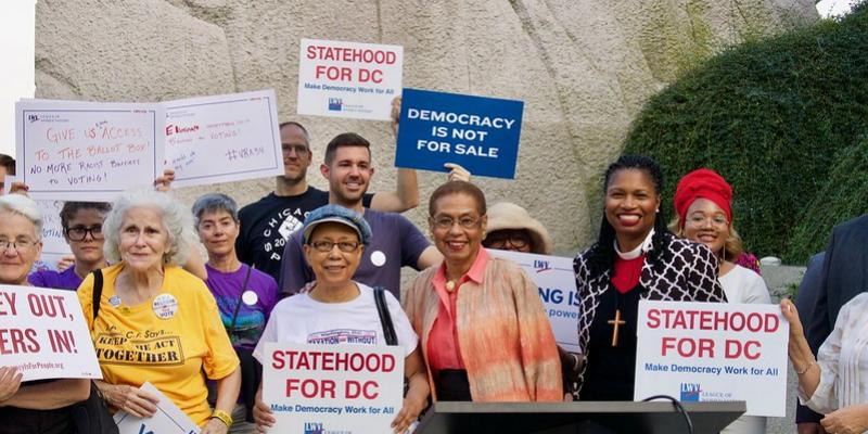Picture of a group of League members at rally for DC Statehood