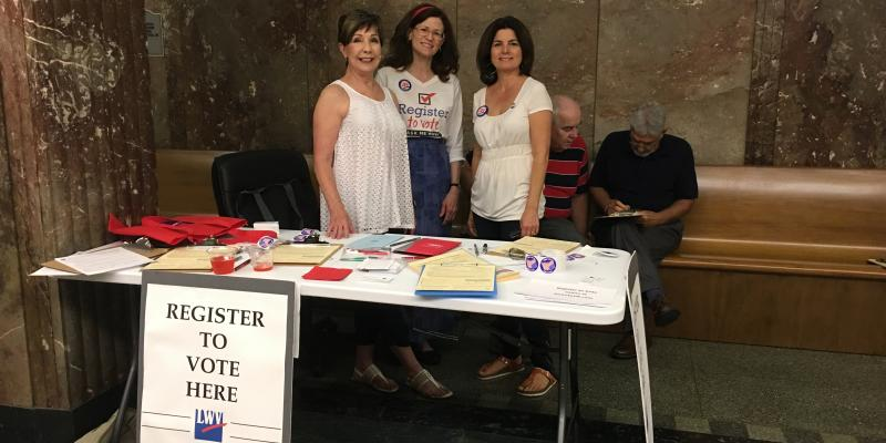 Voter registration table with LWVOR members