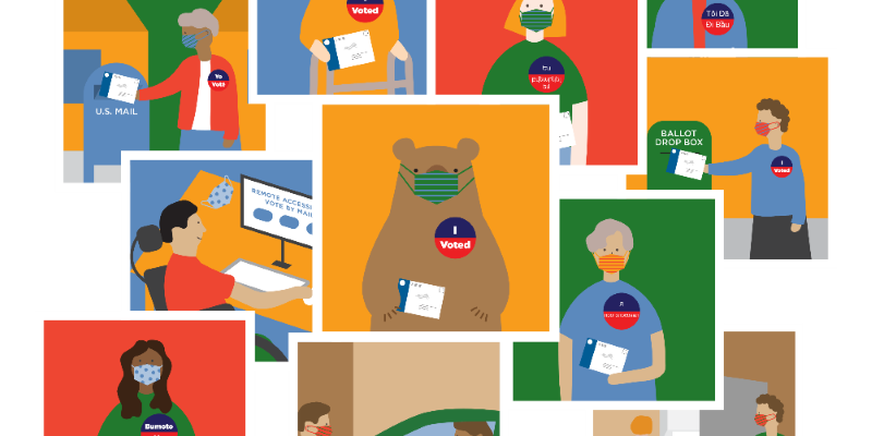 Graphic of Voters with I Voted Stickers
