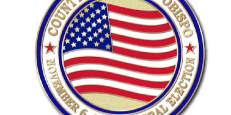 Pin with flag and text for November 6 General Election SLO County