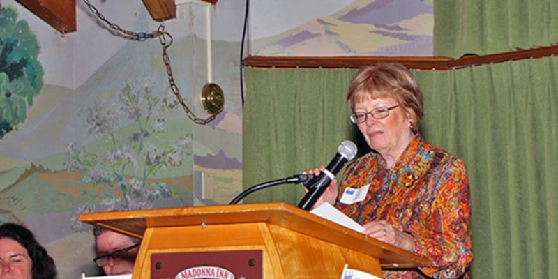 Ann Havlik at podium giving remarks at meeting