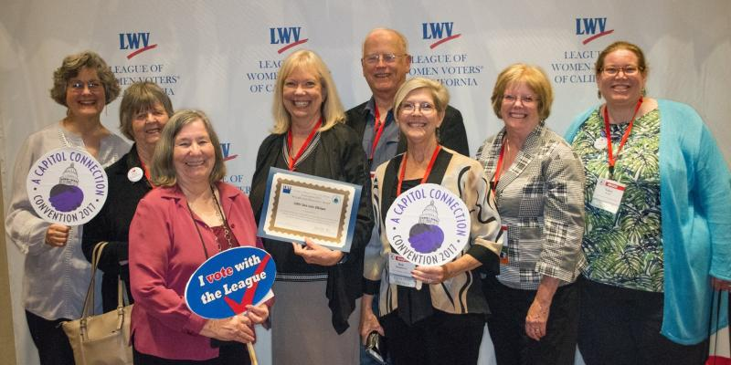 League members with Helen Hutchison getting convention award