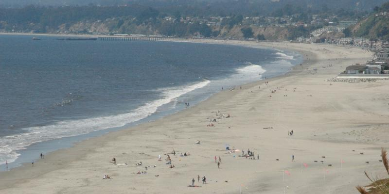 View of Seacliff Beach and Rio Del Mar from south county cliffs