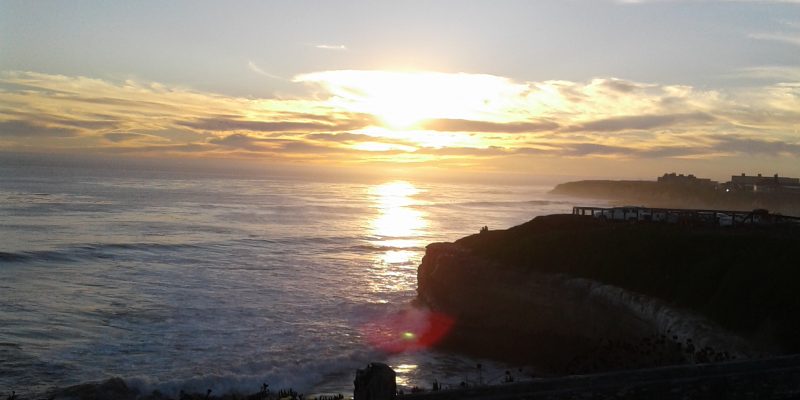 Natural Bridges at sunset, near West Cliff Drive and Swanton Road