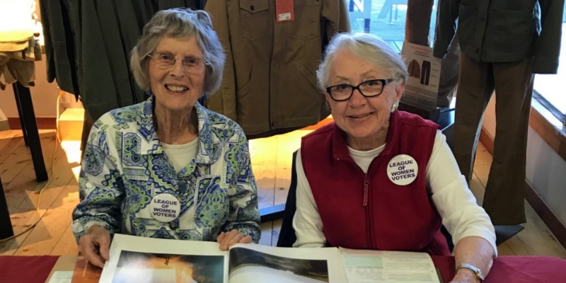 Sue and Eve registering voters in Santa Cruz County May 15, 2018.