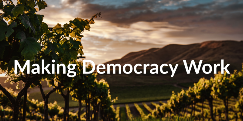 MAKING DEMOCRACY WORK (Santa Maria Valley vineyard photo \ SOURCE: https://unsplash.com/s/photos/cambria-winery%2C-santa-maria%2C-united-states)