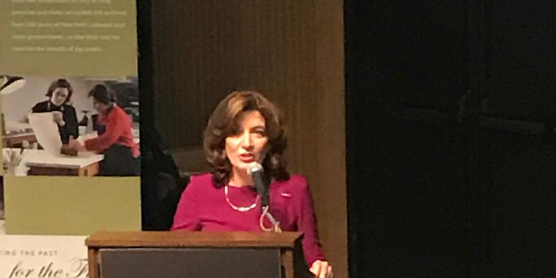 Lt. Governor of NYS Kathy Hochul speaking at the 100th Anniversary of Women's Suffrage in NY