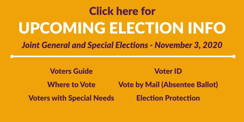 Click here for upcoming election info
